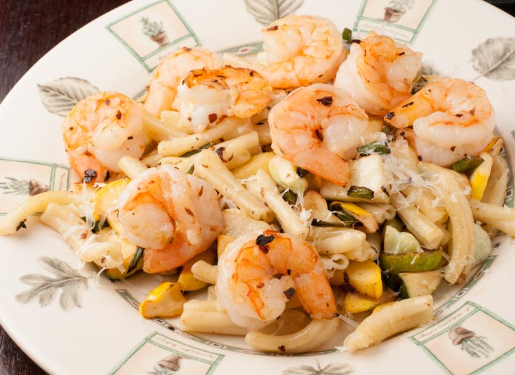 baby squash and garlic scape pasta with spicy shrimp