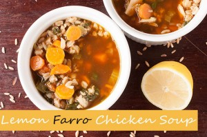 healthy spinach lemon farro chicken soup