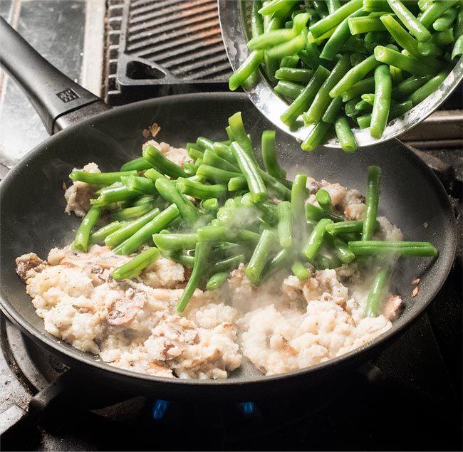 mushrooms, green beans, and cauliflower cream