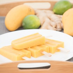 homemade honey lime ginger mango popsicles