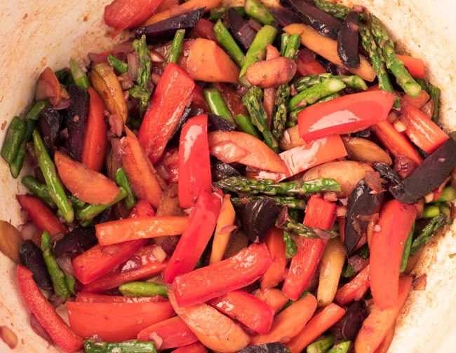 mixed vegetables for thai red coconut curry