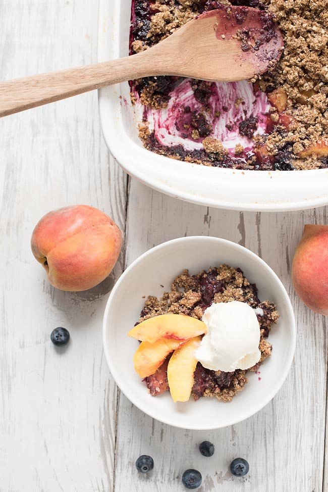 mixed berry crisp - blackberry, blueberry, peach crisp