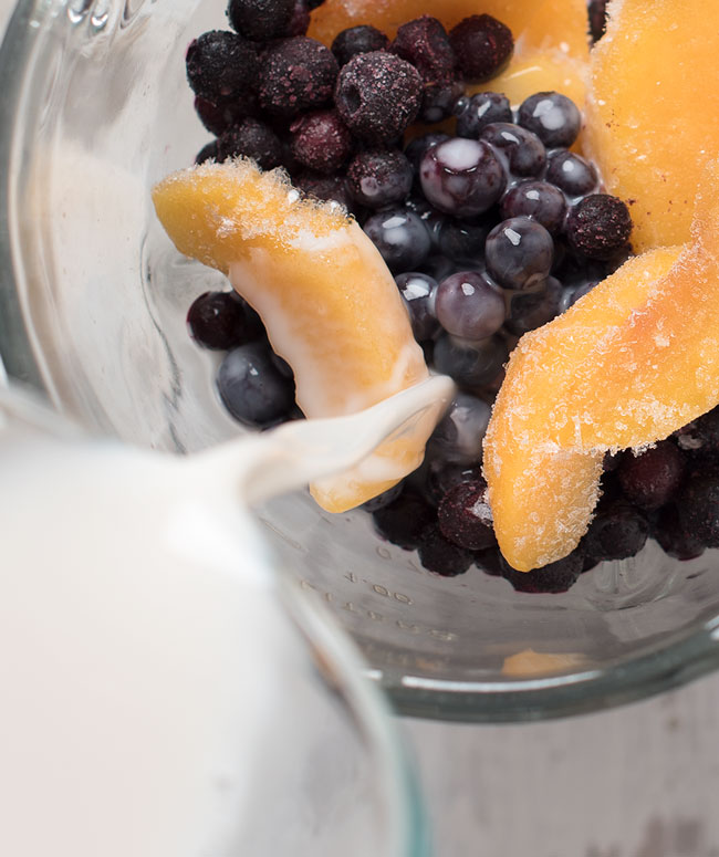 blueberry peach almond milk smoothie