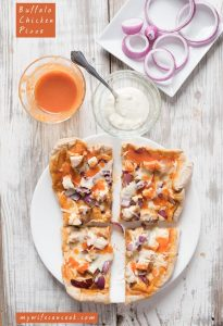Buffalo Chicken Pizza with Red Onions and Blue Cheese
