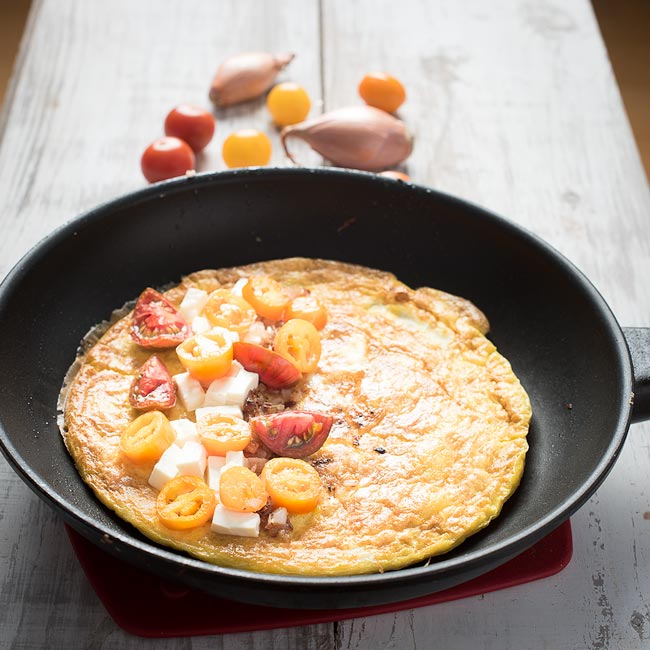 grape tomato and feta omelette with shallots