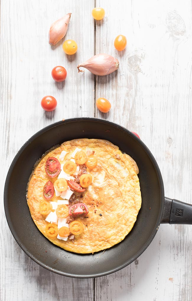 Tomato and Feta Omelette with shallots