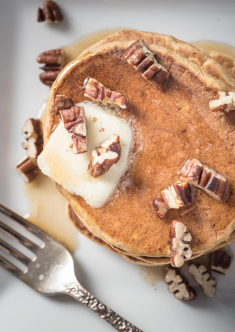 Sweet potato pancakes with almond milk and pecans