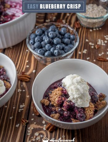 blueberry crisp made with fresh or frozen blueberries