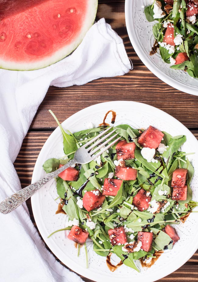 The perfect summer salad - arugula with feta, watermelon, and a balsamic glaze
