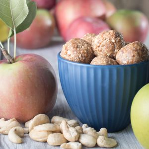 apple pie cookie ball bites - no bake and vegan
