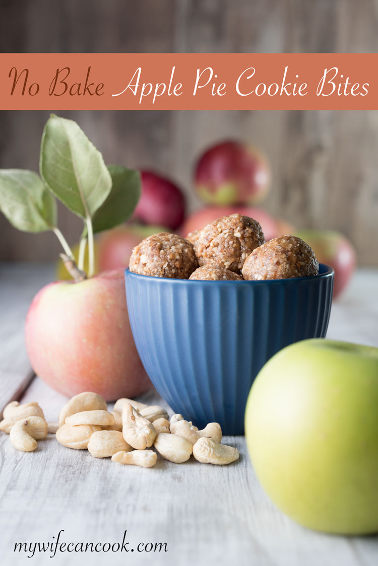 no bake apple pie cookie bites - they're vegan and make a great healthy snack