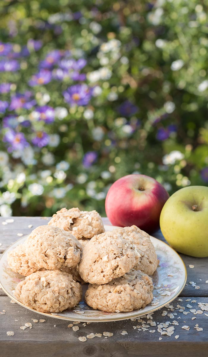 chewy apple oatmeal cookies with fresh apple and cinnamon