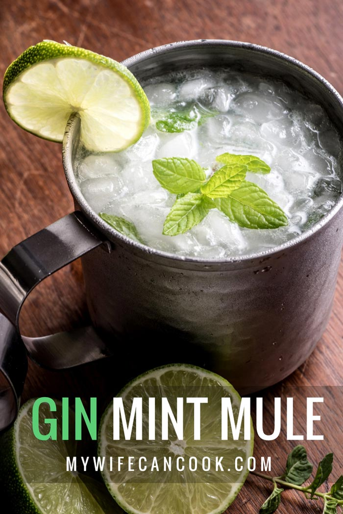 gin mint mule cocktail made win gin, lime, mint, and ginger beer