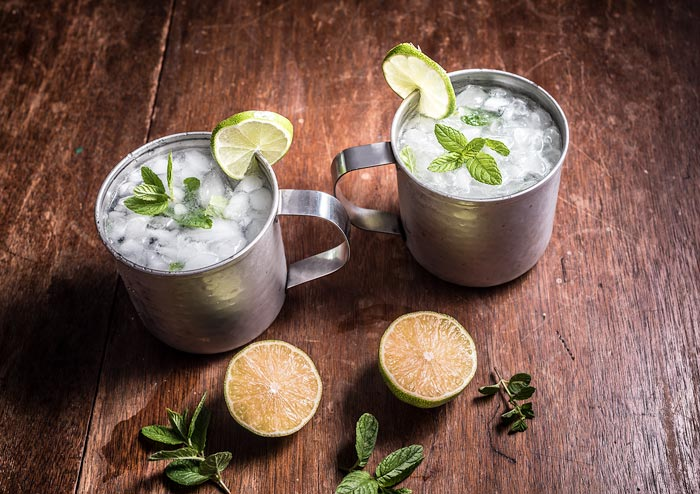 gin mint mule lime and ginger cocktail