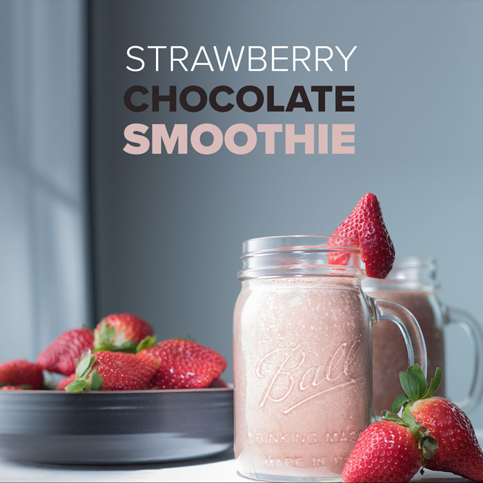 vegan strawberry chocolate smoothies made with cacao and almond milk