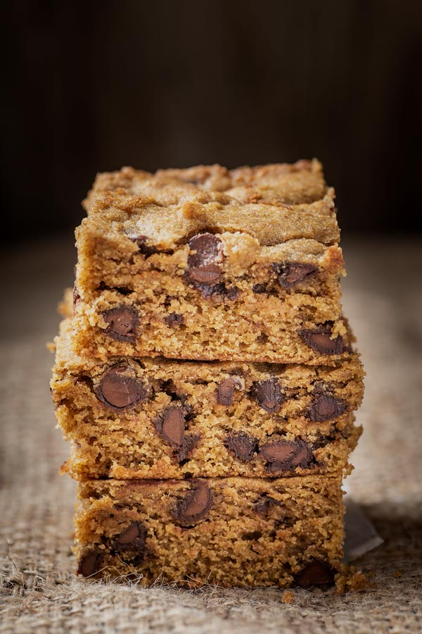 pumpkin chocolate chip cookie bar stack