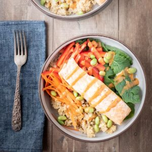 Thai salmon dinner bowl with peanut sauce