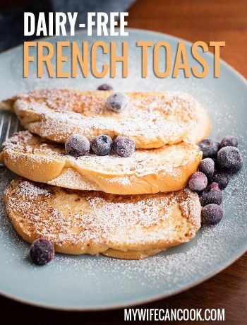 dairy-free french toast served with blueberries